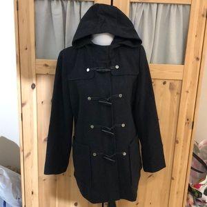 EUC Liz Claiborne Wool Blend Pea Coat With Zipper